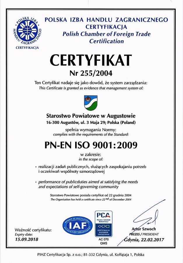 Certyfikat ISO9001