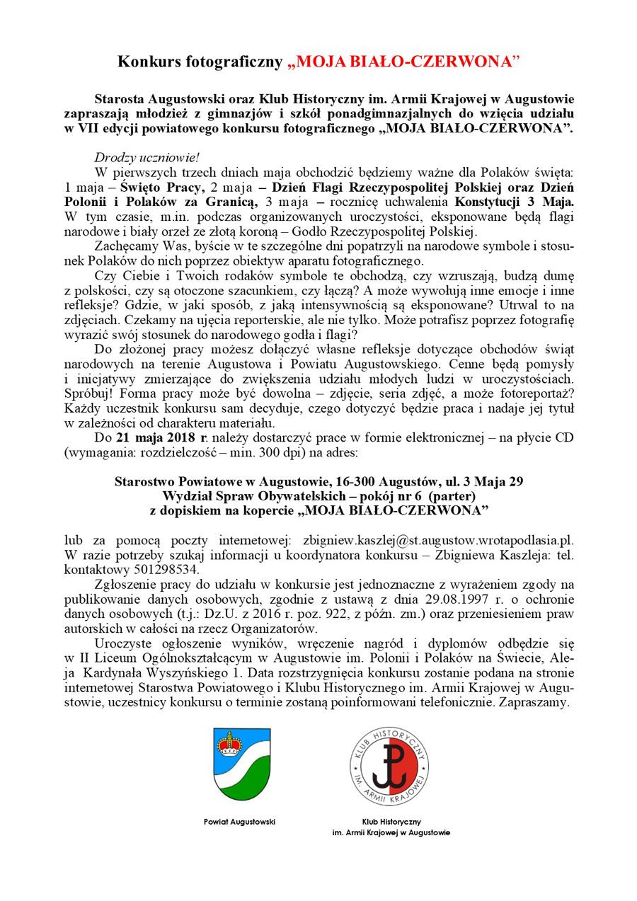 """Konkurs fotograficzny """"MOJA BIAŁO-CZERWONA"""""""