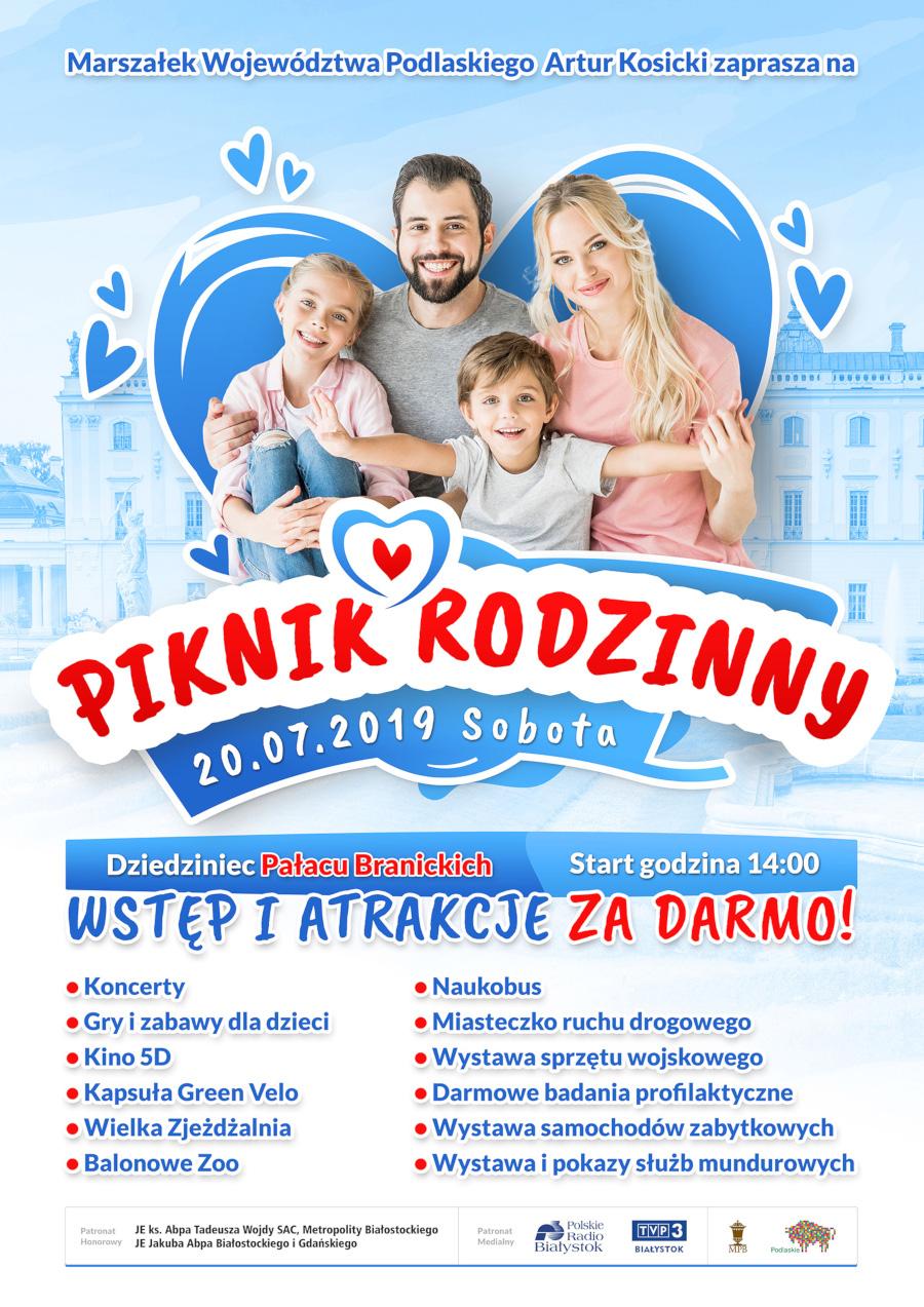 Plakat informujący o pikniku rodzinnym na dziedzińcu Pałacu Branickich 20 lipca od godz. 14.00