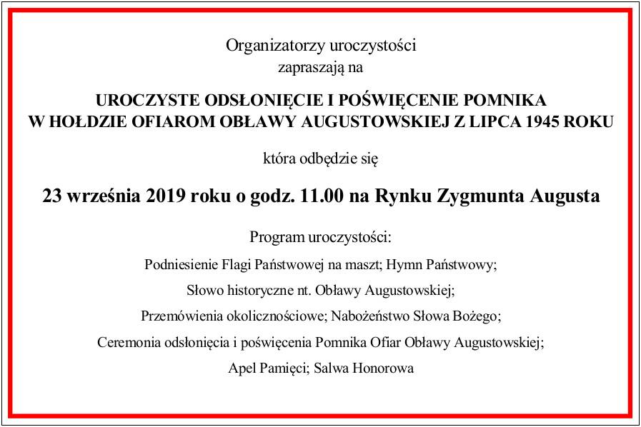 Zaproszenie na odsłonięcie Pomnika Ofiar Obławy Augustowskiej