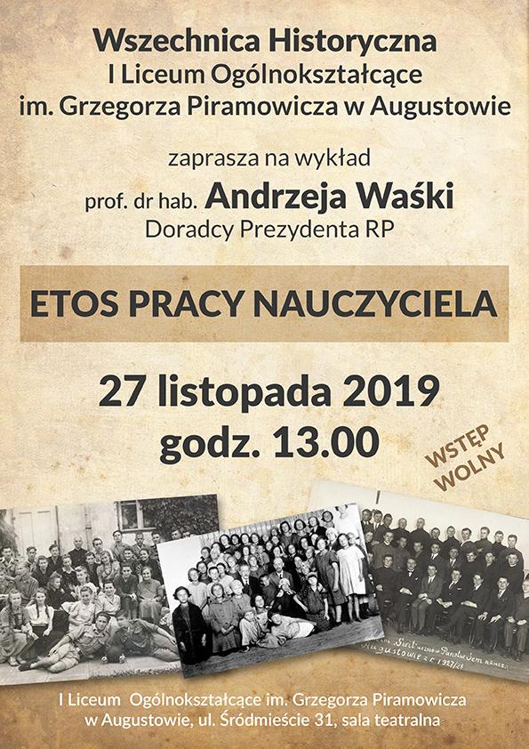 Plakat informujący o wykładzie prof. dr. hab. Andrzeja Waśki