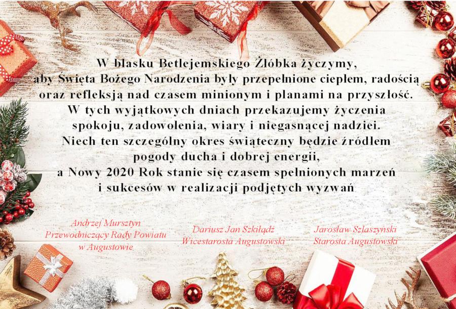 Życzenia z okazji Świąt Bożego Narodzenia 2019