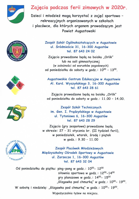 Informacja o zajęciach sportowo – rekreacyjnych, organizowanych uczniom podczas ferii 2020r
