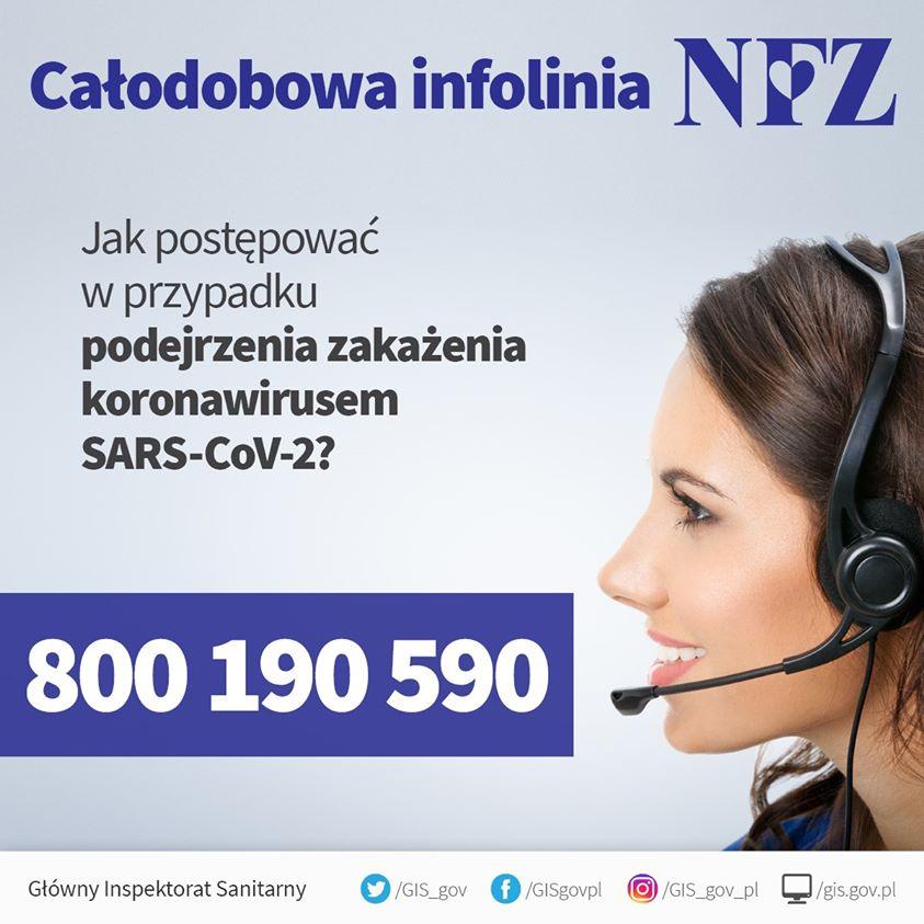 infolinia Narodowego Funduszu Zdrowia 800 190 590 w zakresie informacji dla Polaków o postępowaniu w sytuacji wątpliwości podejrzenia koronawirusa