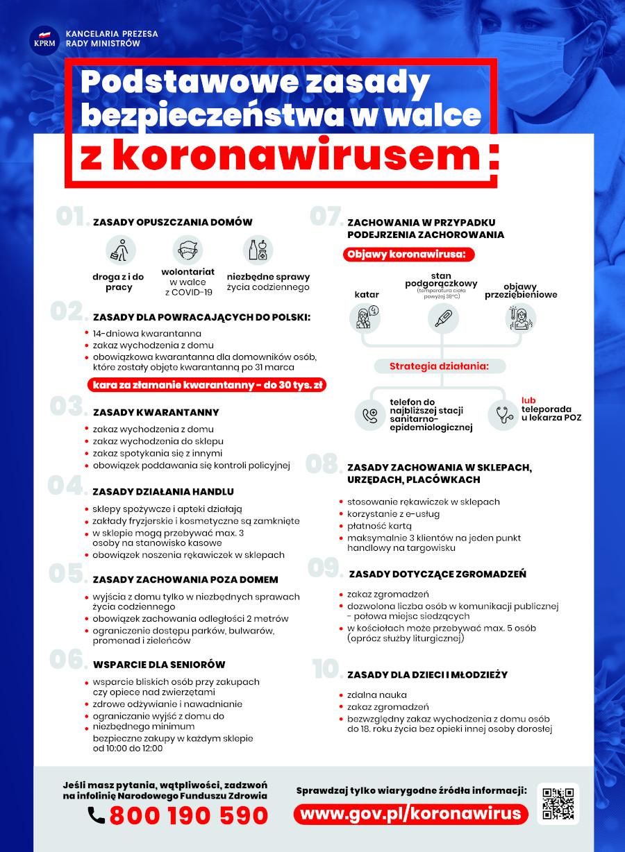 Podstawowe zasady bezpieczeństwa - plakat KPRM