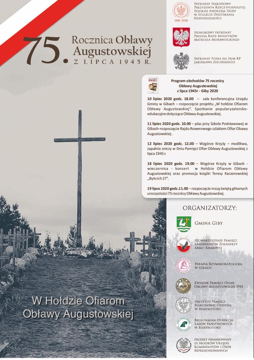 Szczegółowe informacje na temat obchodów 75. rocznica Obławy Augustowskiej w Gibach