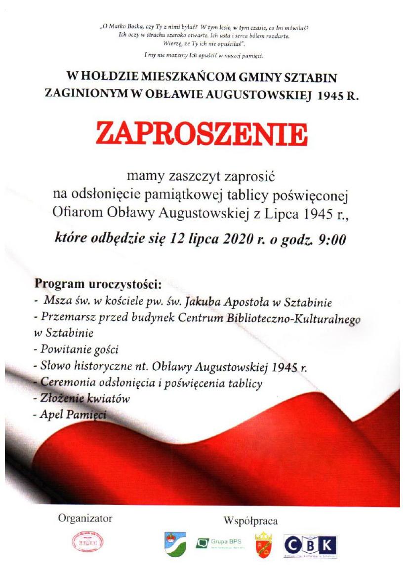 Szczegółowe informacje na temat obchodów 75. rocznica Obławy Augustowskiej w Sztabinie