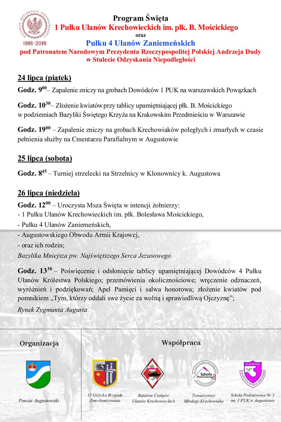 Szczegółowy program obchodów Święta 1 Pułku Ułanów Krechowieckich im. płk. Bolesława Mościckiego oraz Pułku 4 Ułanów Zaniemeńskich