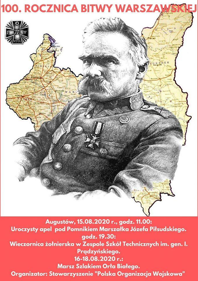 Plakat dot. programu obchodów 100. Rocznicy Bitwy Warszawskiej w dn. 15 sierpnia w Augustowie
